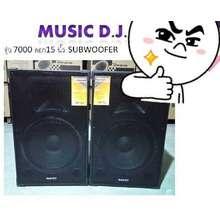 MUSIC D.J. ลำโพงคู่ รุ่น 7000 ดอก 15 นิ้ว SUBWOOFER เสียงดี เบสหนัก