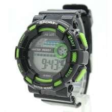 Sport Watch นาฬิกาข้อมือชาย-หญิง สายยางดำ ขอบเขียว ระบบ Digital Sw-C04