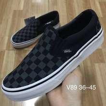 Vans Slip On Checker Board Classic รองเท้าผ้าใบแวนส์ลายตารางหมากฮอส ลวดลายโดดเด่น สะดุดตา สั่งเลย จัดส่งฟรี!!! (ดำเทา, EU:36)