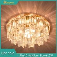 easy home 5 วัตต์ LED ดาวน์ไลท์นำวัวตาแสง LED คริสตัลโคมไฟเพดานทางเดินระเบียงแสงโคมระย้าคริสตัลห้องนั่งเล่นพื้นหลังผนังสปอตไลพื้นผิวติด