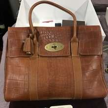 Mulberry Used In Good Condition Bayswater In Oat Croc Printed Tan Leather