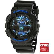 "Casio G-shock Casio G-Shock สีดำ/สีฟ้า สายเรซิ่น รุ่น Ga-100Cb-1Adr ""ประกันศูนย์ Cmg"""
