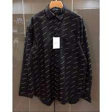Balenciaga Balenciaga Black And White All Over Logo Lone Sleeve Shirt