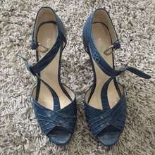 Nine West - Navy Leather Pattern Heels, Size 7.5 Us, 38