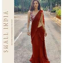 SMALL INDIA {**ส่งฟรี**} 💖✨ Maroon Georgette Lehenga Saree 💖✨ One Level Up