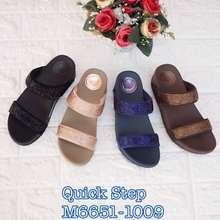 Quick Step yeong yeou รองเท้าพื้นสุขภาพสูง1.5นิ้ว(4Cm)แบบสวม 2 ตอนรีดเพชร รหัสyy6651-1009 (ดำ, EU:36)