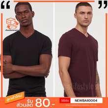 H&M [พร้อมส่ง] เสื้อยืดผู้ชายH&Mคอวี แท้💯
