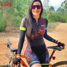 ชุดปั่นจักรยาน Kafitt New Pro Team Triathlon Jumpsuit Women'S Cycling Long Sleeve Jersey Tights Jumpsuit Macaquinho Ciclismo Feminino