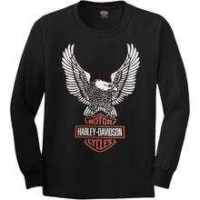 Harley-Davidson เสื้อยืดแขนยาวharley davidsonผ้านุ่มคอฟิตไม่มีข้างcotton100%ไซส์MLมีมากกว่า40แบบ
