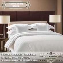 SP Luxury ผ้าปูที่นอนลายริ้วสีขาว 5 ฟุต (3 ชิ้น) พรีเมี่ยมเกรด